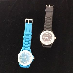 2 Geneva Jelly Watches with Gem Watch  faces
